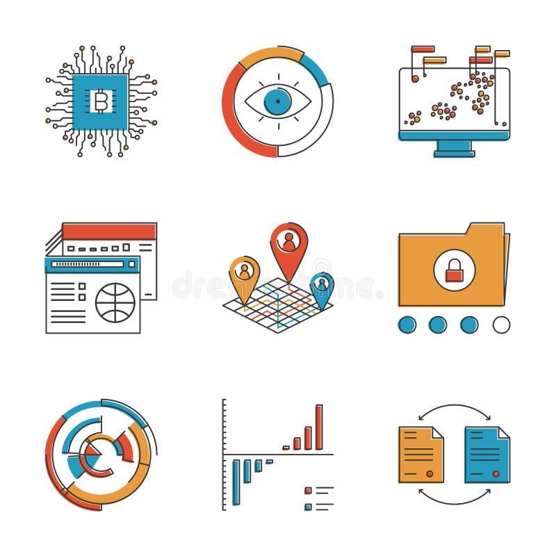 Εικονίδια γραμμών Infographics και ανάλυσης καθορισμένα απεικόνιση αποθεμάτων