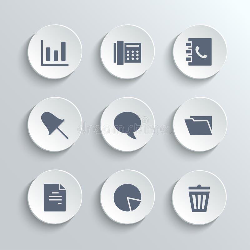 Εικονίδια γραφείων καθορισμένα - διανυσματικά άσπρα στρογγυλά κουμπιά απεικόνιση αποθεμάτων