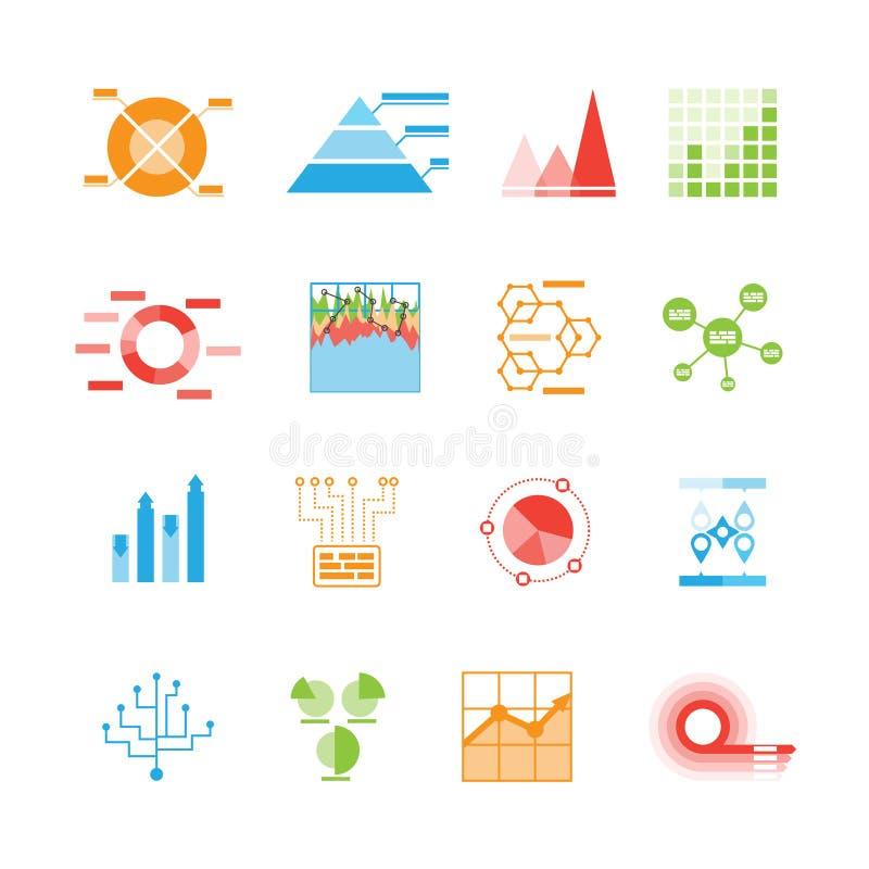 Εικονίδια γραφικών παραστάσεων και διαγραμμάτων ή infographic στοιχεία ελεύθερη απεικόνιση δικαιώματος