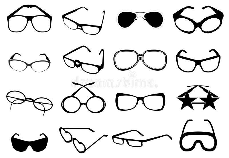 Εικονίδια γυαλιών ματιών καθορισμένα διανυσματική απεικόνιση