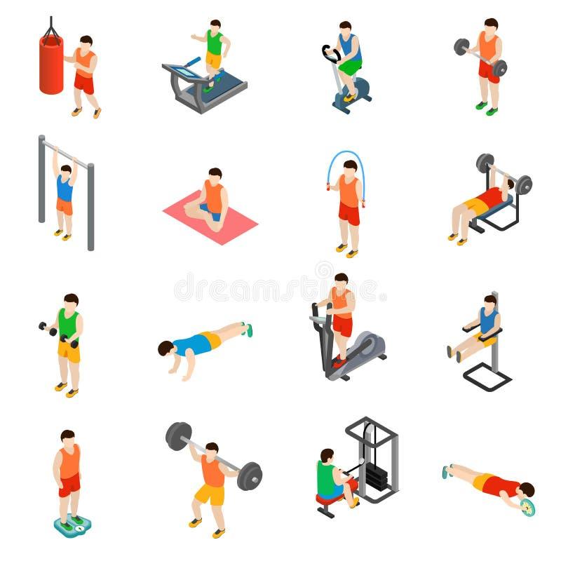 Εικονίδια γυμναστικής καθορισμένα ελεύθερη απεικόνιση δικαιώματος