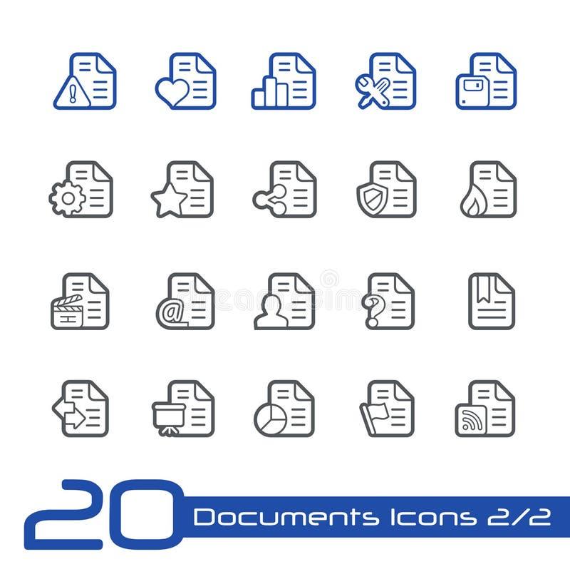 Εικονίδια εγγράφων - σύνολο 2 2 σειρών γραμμών του // ελεύθερη απεικόνιση δικαιώματος
