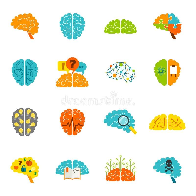 Εικονίδια εγκεφάλου επίπεδα διανυσματική απεικόνιση