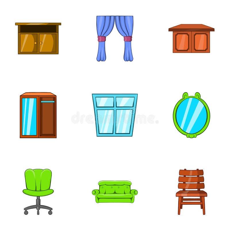 Εικονίδια εγχώριων επιπλώσεων καθορισμένα, ύφος κινούμενων σχεδίων απεικόνιση αποθεμάτων