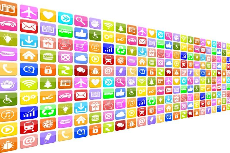 Εικονίδια εικονιδίων Apps App εφαρμογής που τίθενται για το κινητό ή έξυπνο τηλέφωνο ελεύθερη απεικόνιση δικαιώματος