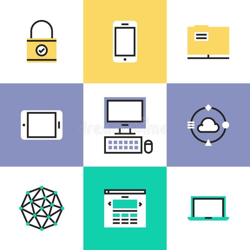 Εικονίδια εικονογραμμάτων τεχνολογίας και δικτύωσης καθορισμένα απεικόνιση αποθεμάτων