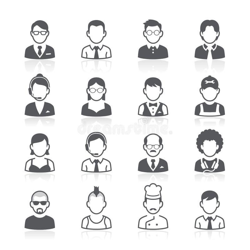 Εικονίδια ειδώλων επιχειρηματιών. απεικόνιση αποθεμάτων