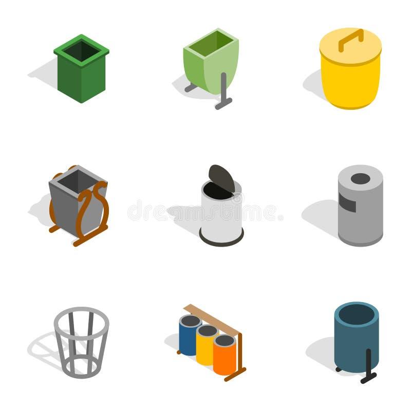 Εικονίδια εμπορευματοκιβωτίων απορριμάτων, isometric τρισδιάστατο ύφος ελεύθερη απεικόνιση δικαιώματος
