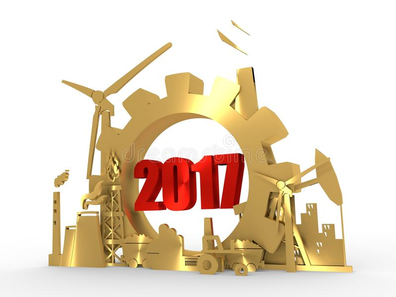 Εικονίδια ενέργειας και δύναμης που τίθενται με 2017 αριθμούς διανυσματική απεικόνιση