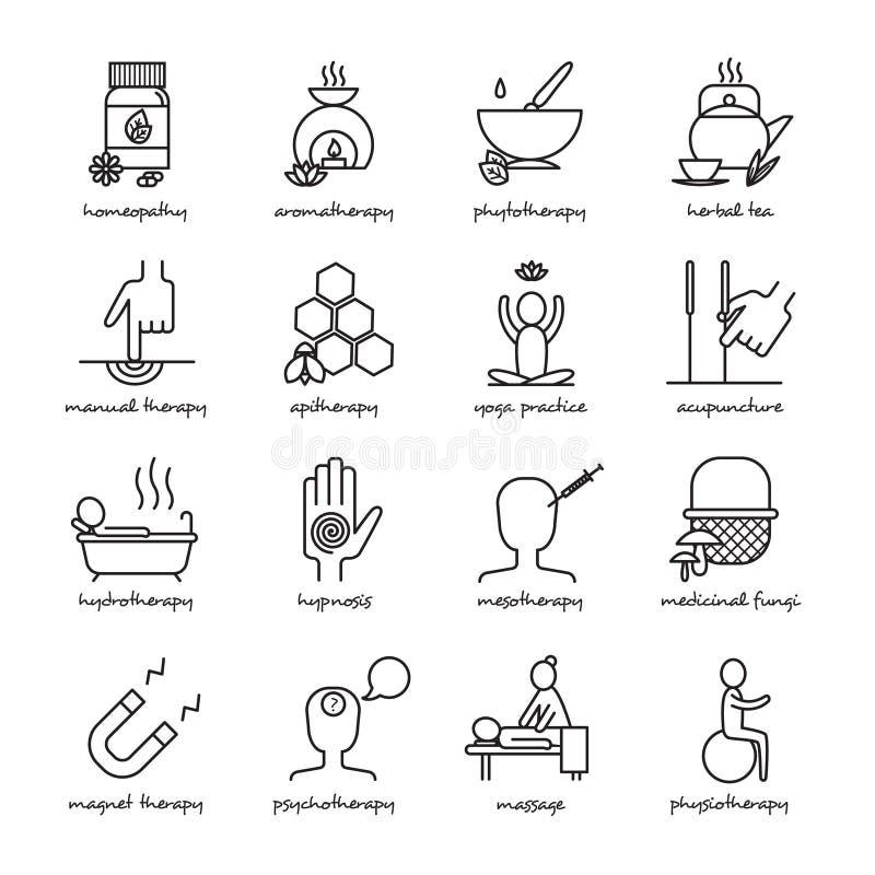 Εικονίδια εναλλακτικής ιατρικής καθορισμένα διανυσματική απεικόνιση