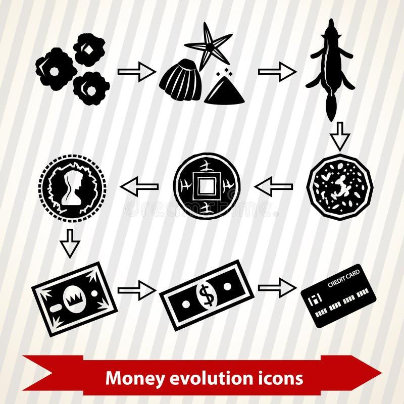 Εικονίδια εξέλιξης χρημάτων απεικόνιση αποθεμάτων