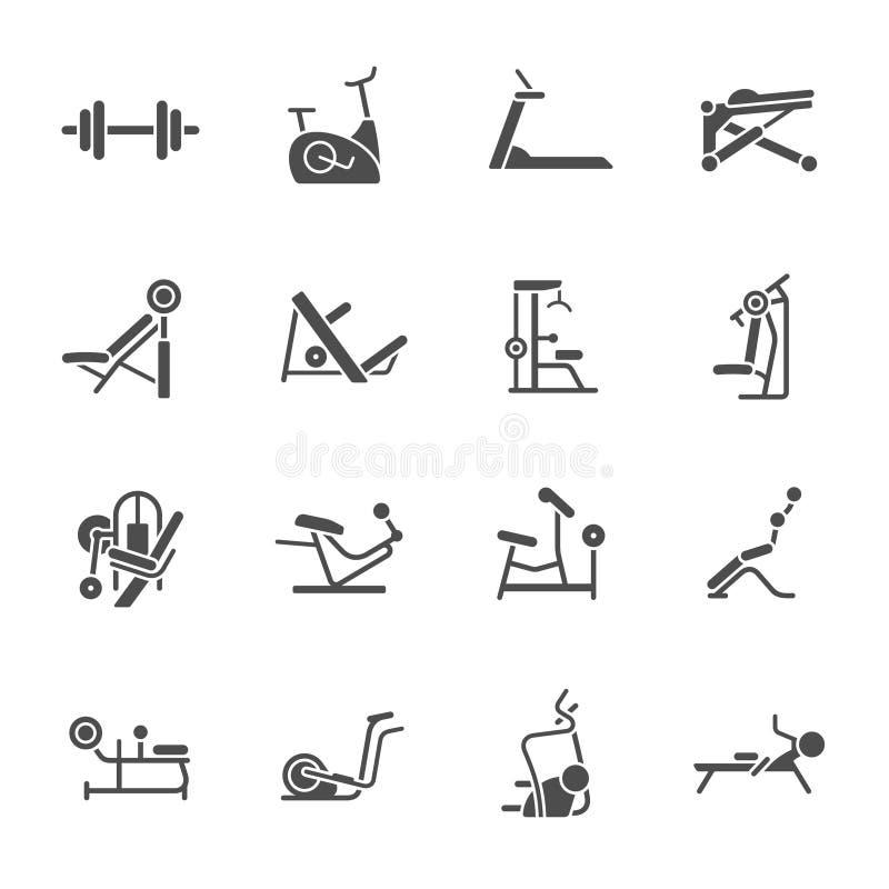 Εικονίδια εξοπλισμού γυμναστικής ελεύθερη απεικόνιση δικαιώματος