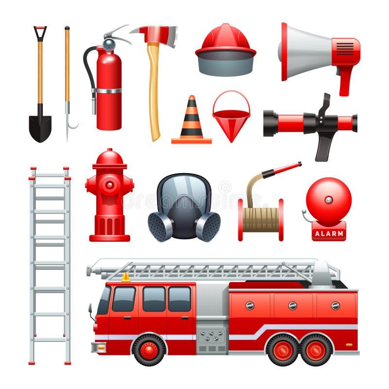 Εικονίδια εξοπλισμού και μηχανημάτων πυροσβεστών καθορισμένα ελεύθερη απεικόνιση δικαιώματος