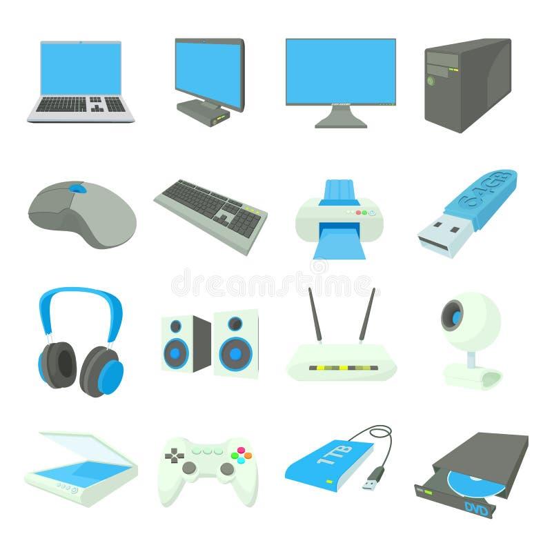 Εικονίδια εξοπλισμού υπολογιστών καθορισμένα, ύφος κινούμενων σχεδίων ελεύθερη απεικόνιση δικαιώματος