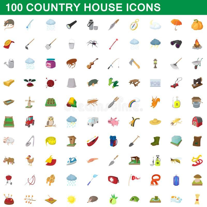 100 εικονίδια εξοχικών σπιτιών καθορισμένα, ύφος κινούμενων σχεδίων ελεύθερη απεικόνιση δικαιώματος