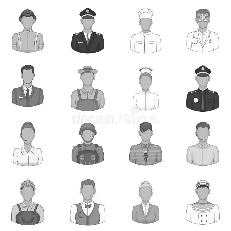 Εικονίδια επαγγελμάτων καθορισμένα, μαύρο μονοχρωματικό ύφος διανυσματική απεικόνιση