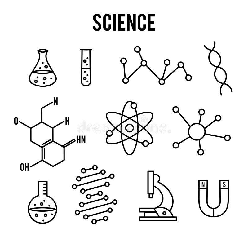 Εικονίδια επιστήμης στο άσπρο υπόβαθρο Εικονίδιο ερευνητικών περιλήψεων Μικροσκοπικά διανυσματικά στοιχεία γραμμών διανυσματική απεικόνιση