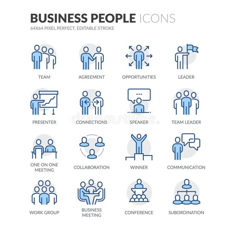 Εικονίδια επιχειρηματιών γραμμών διανυσματική απεικόνιση