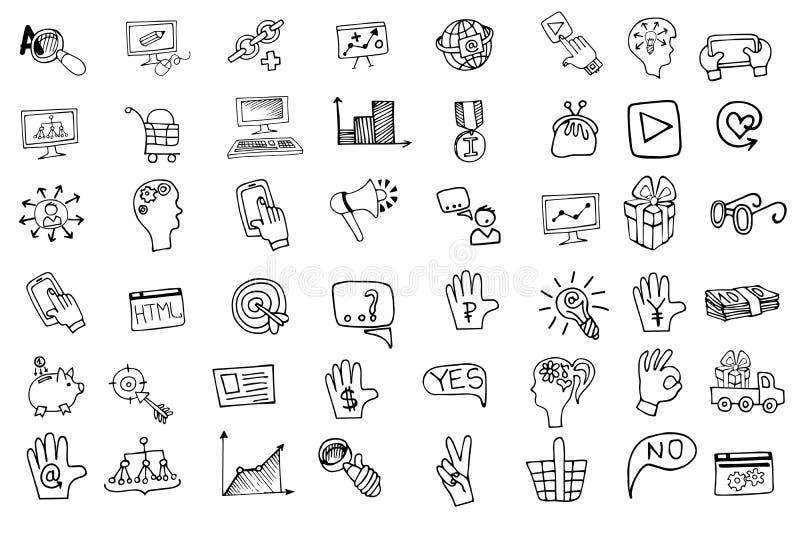 Εικονίδια επιχειρησιακού seo Doodle καθορισμένα Περίληψη περιγραμματική ελεύθερη απεικόνιση δικαιώματος
