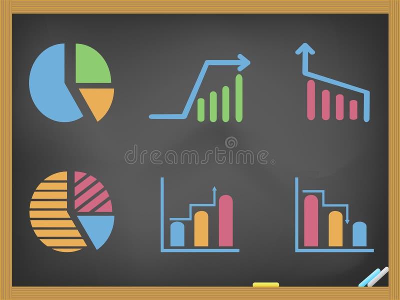 Εικονίδια επιχειρησιακών διαγραμμάτων στον πίνακα ελεύθερη απεικόνιση δικαιώματος