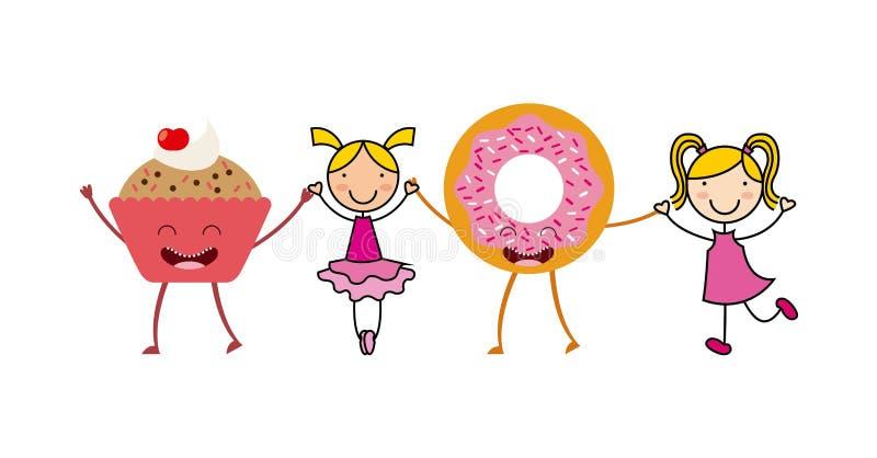 Εικονίδια επιλογών χαρακτήρα τροφίμων απεικόνιση αποθεμάτων