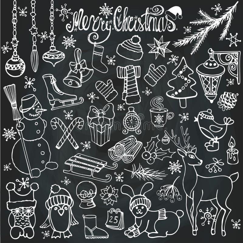 Εικονίδια εποχής Χριστουγέννων doodle, ζώα chalkboard απεικόνιση αποθεμάτων