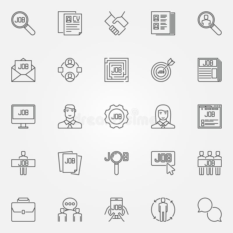 Εικονίδια εργασίας καθορισμένα ελεύθερη απεικόνιση δικαιώματος