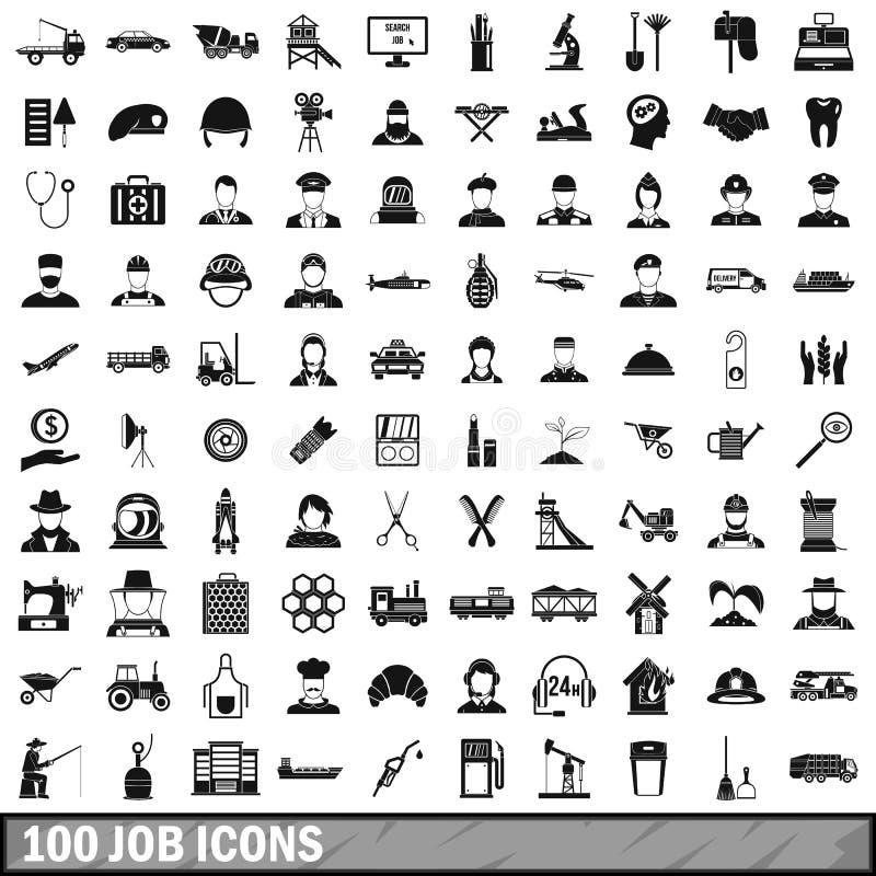 100 εικονίδια εργασίας που τίθενται στο απλό ύφος απεικόνιση αποθεμάτων