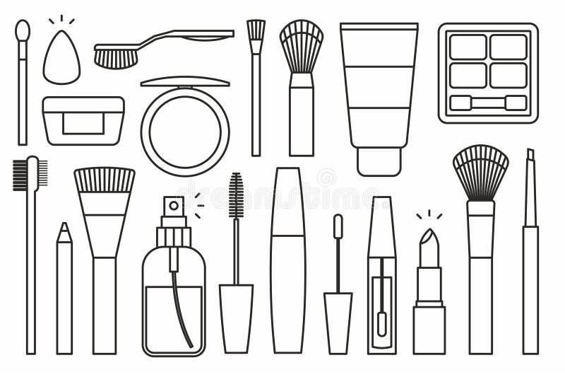 Εικονίδια εργαλείων Makeup απεικόνιση αποθεμάτων