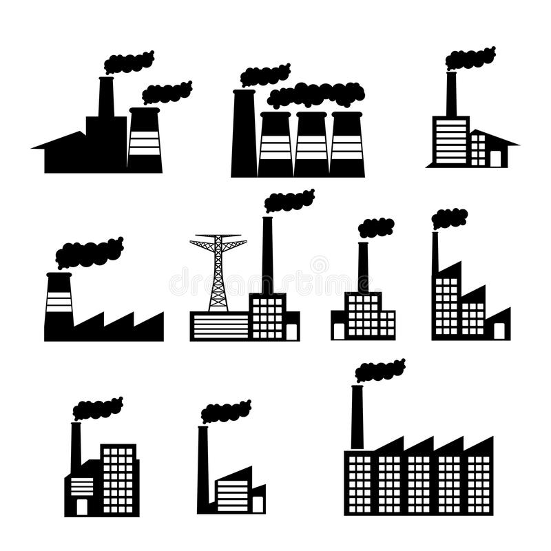 Εικονίδια εργοστασίων διανυσματική απεικόνιση