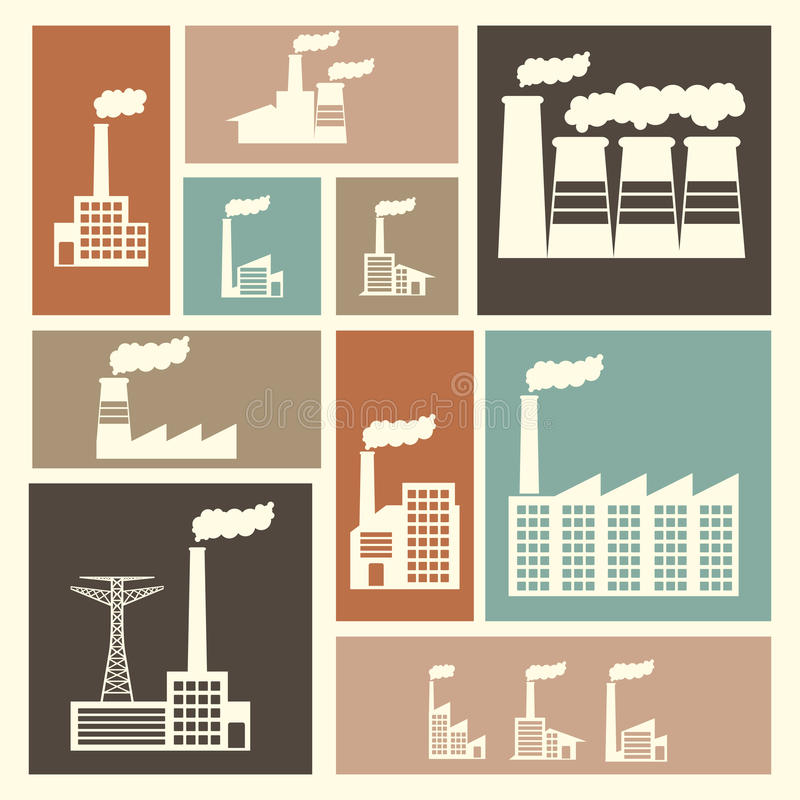 Εικονίδια εργοστασίων ελεύθερη απεικόνιση δικαιώματος