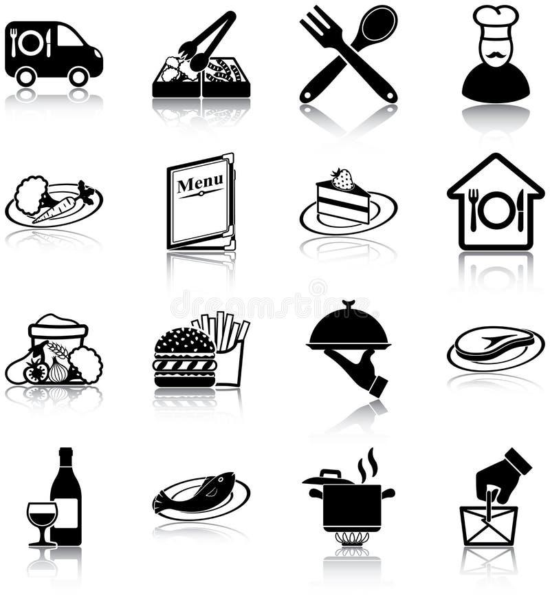 Εικονίδια εστιατορίων ελεύθερη απεικόνιση δικαιώματος