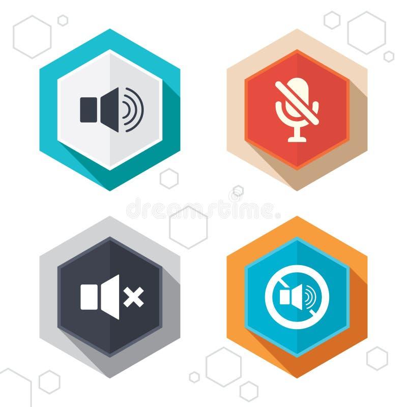 Εικονίδια ελέγχου φορέων Ήχος, μικρόφωνο και μουγγός διανυσματική απεικόνιση