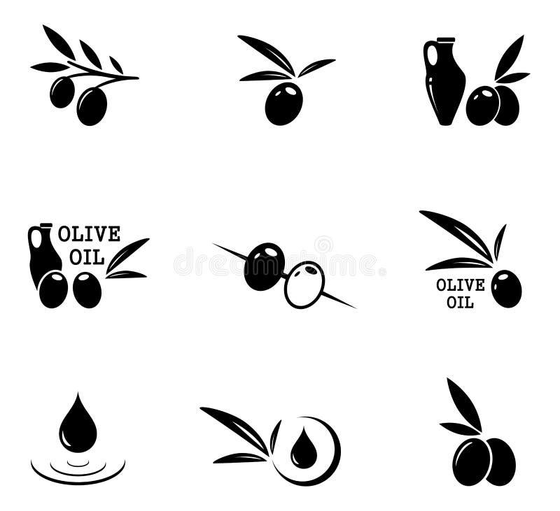 Εικονίδια ελιών καθορισμένα απεικόνιση αποθεμάτων