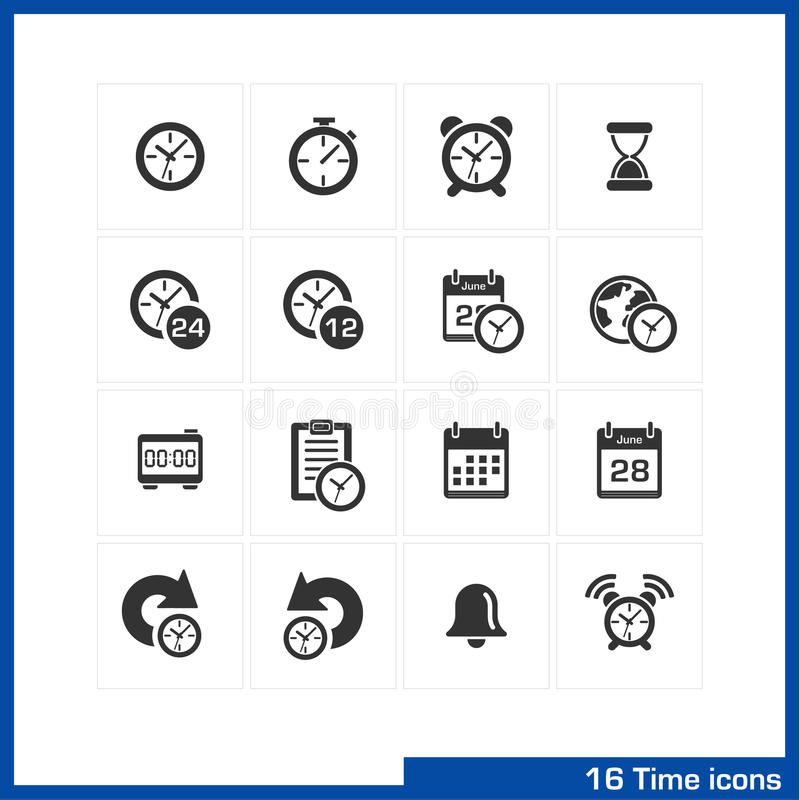 Εικονίδια ημερομηνίας και χρόνου καθορισμένα ελεύθερη απεικόνιση δικαιώματος
