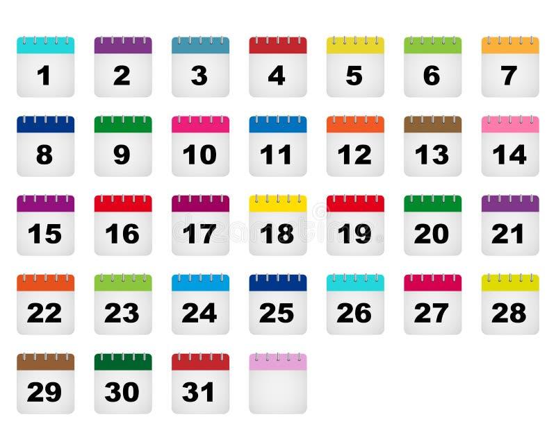 Εικονίδια ημερολογιακών ημερών διανυσματική απεικόνιση