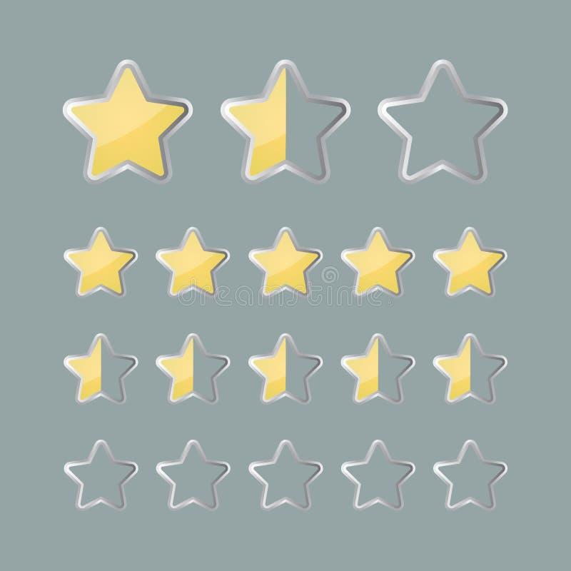 Εικονίδια θέσης αστεριών εκτίμησης διανυσματική απεικόνιση