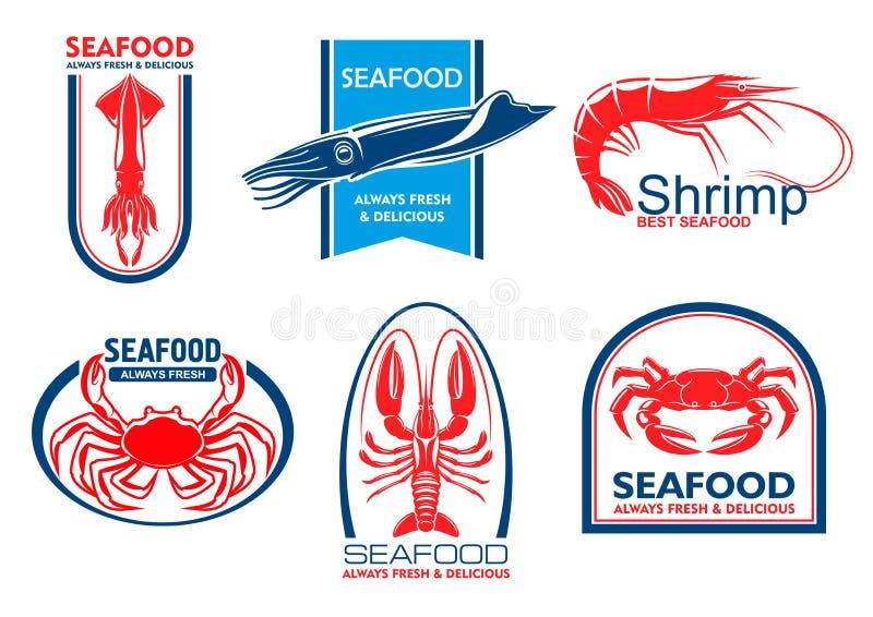 Εικονίδια θαλασσινών Έμβλημα τροφίμων ψαριών ελεύθερη απεικόνιση δικαιώματος