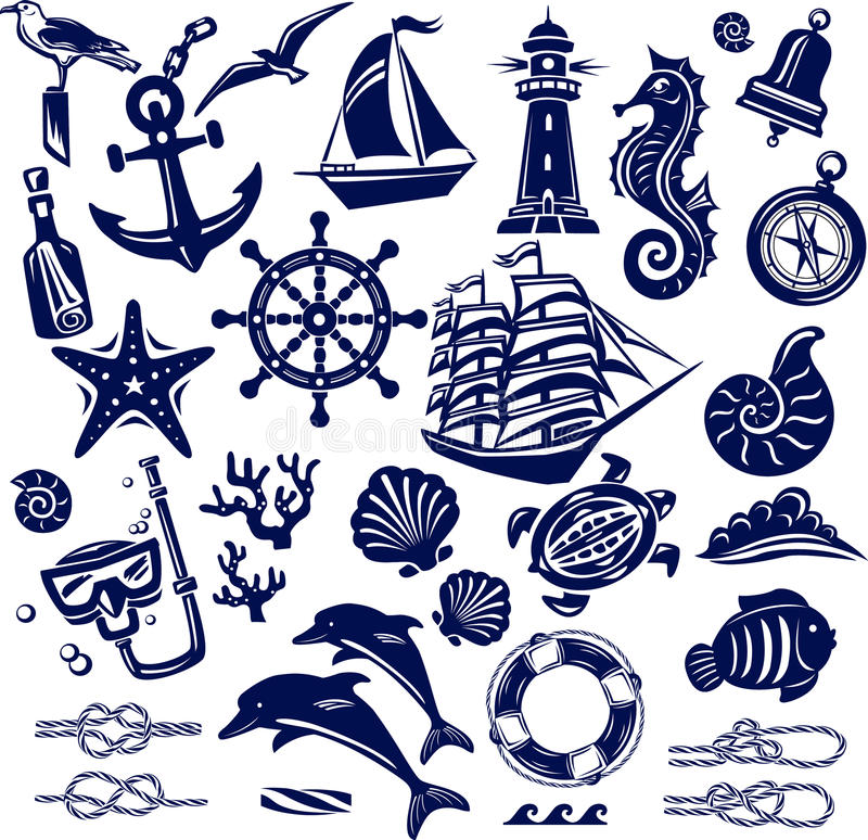 Εικονίδια θερινής θάλασσας ελεύθερη απεικόνιση δικαιώματος