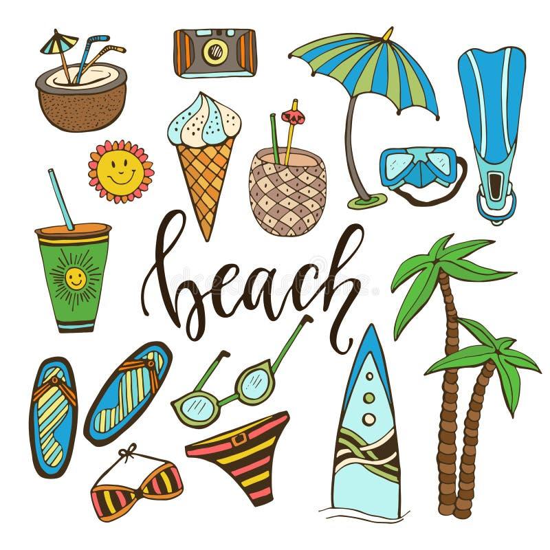 Εικονίδια θερινού Doodle Το διάνυσμα έθεσε με την ιστιοσανίδα, μαγιό, φοίνικας, πτερύγια, κοκτέιλ, παγωτό, ποτό, γυαλιά ηλίου, ομ απεικόνιση αποθεμάτων
