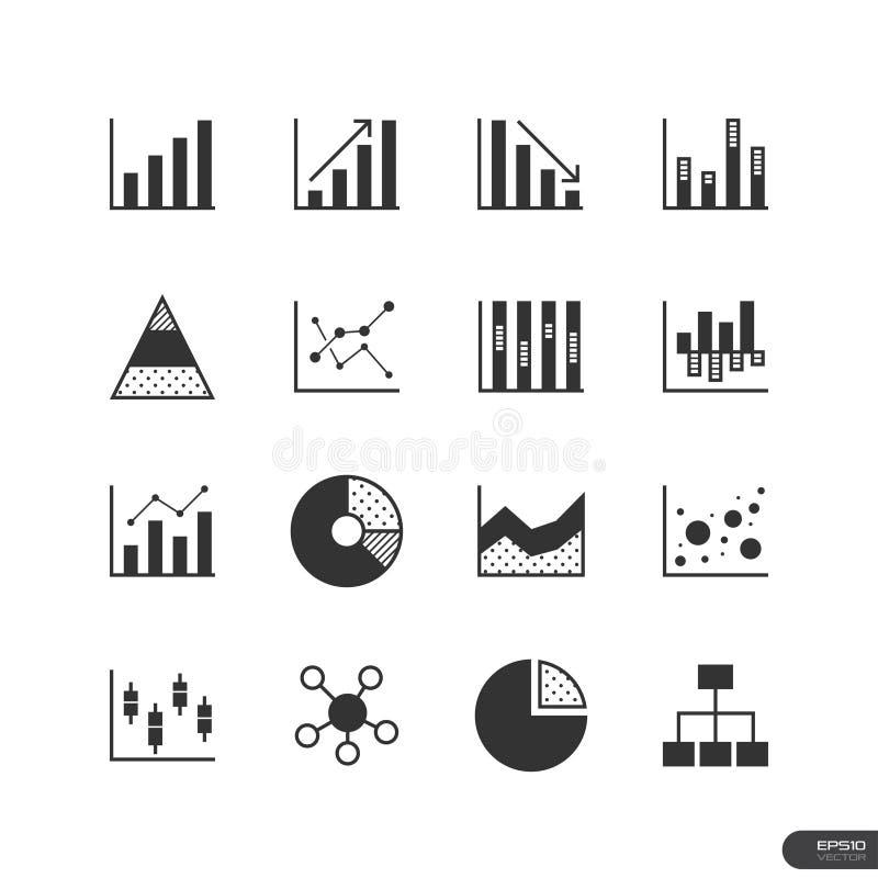 Εικονίδια διαγραμμάτων και γραφικών παραστάσεων καθορισμένα - διανυσματική απεικόνιση στοκ εικόνα με δικαίωμα ελεύθερης χρήσης