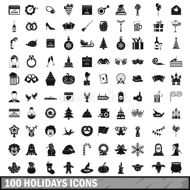 100 εικονίδια διακοπών που τίθενται στο απλό ύφος απεικόνιση αποθεμάτων