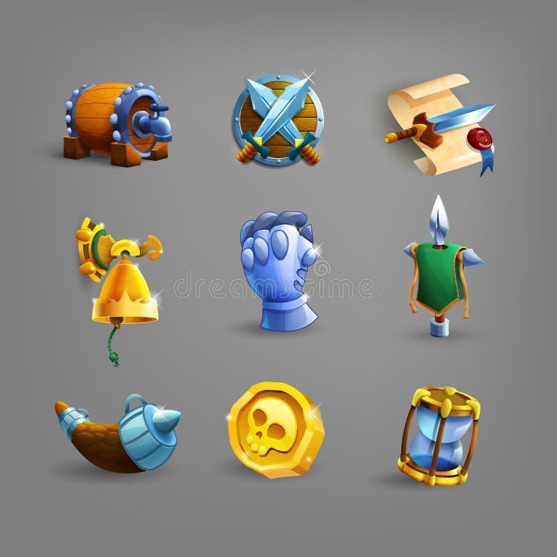 Εικονίδια διακοσμήσεων για τα παιχνίδια διανυσματική απεικόνιση
