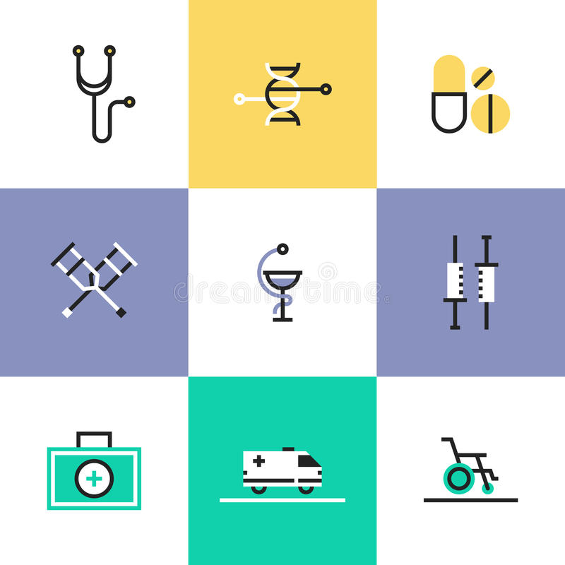 Εικονίδια ιατρικών και εικονογραμμάτων υγειονομικής περίθαλψης καθορισμένα ελεύθερη απεικόνιση δικαιώματος