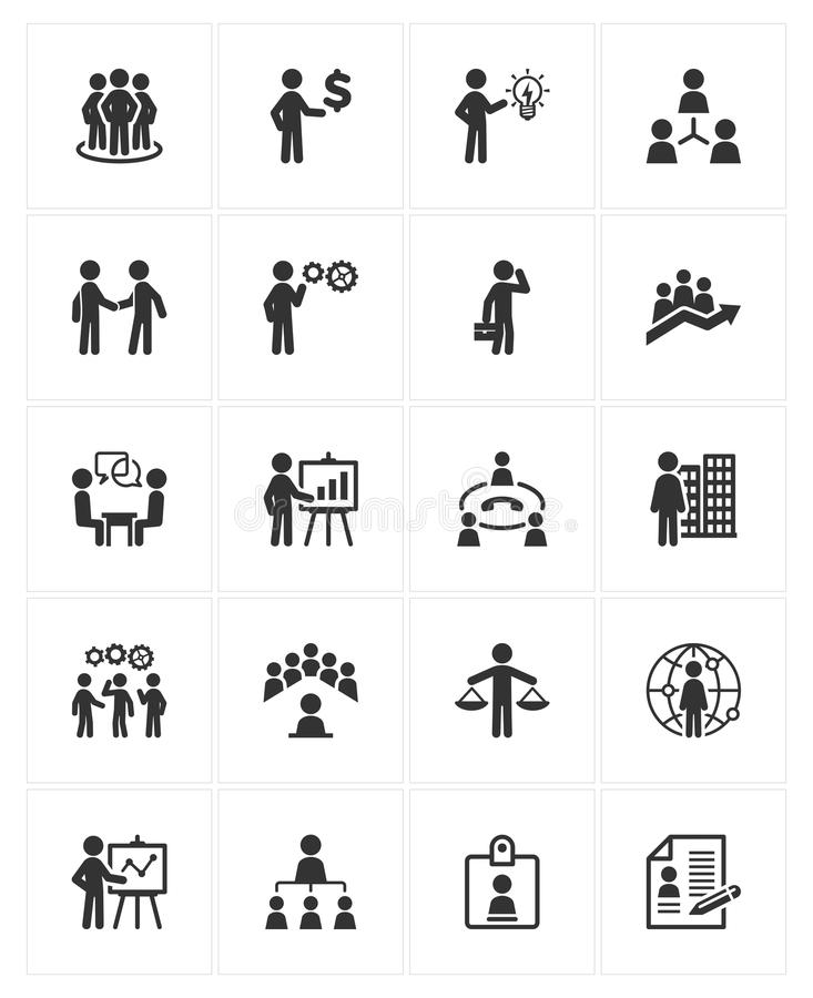 Εικονίδια διοίκησης επιχειρήσεων απεικόνιση αποθεμάτων