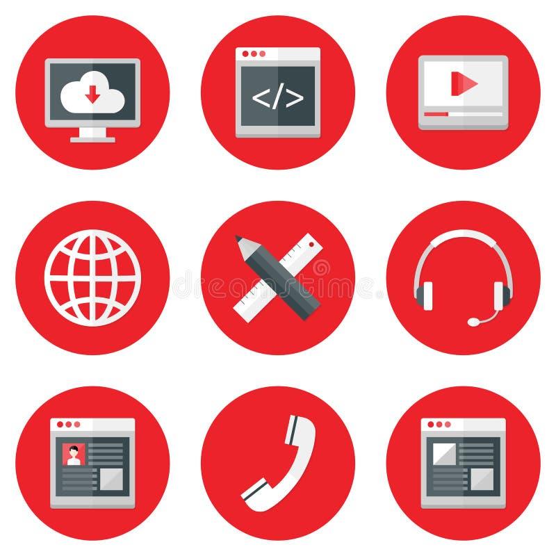 Εικονίδια ιστοχώρου που τίθενται πέρα από το κόκκινο ελεύθερη απεικόνιση δικαιώματος