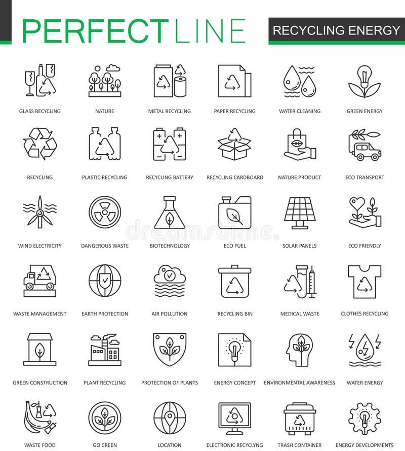 Εικονίδια Ιστού ενεργειακών λεπτά γραμμών ανακύκλωσης καθορισμένα Ανανεώσιμη ενέργεια, πράσινο σχέδιο εικονιδίων κτυπήματος περιλ απεικόνιση αποθεμάτων