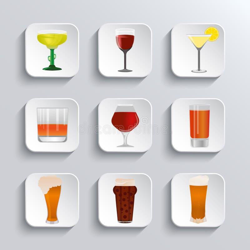 Εικονίδια Ιστού οινοπνεύματος και μπύρας καθορισμένα ελεύθερη απεικόνιση δικαιώματος