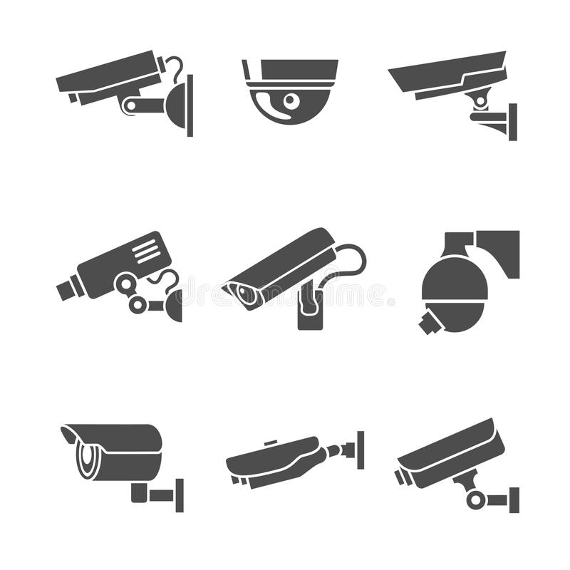 Εικονίδια κάμερων ασφαλείας καθορισμένα διανυσματική απεικόνιση