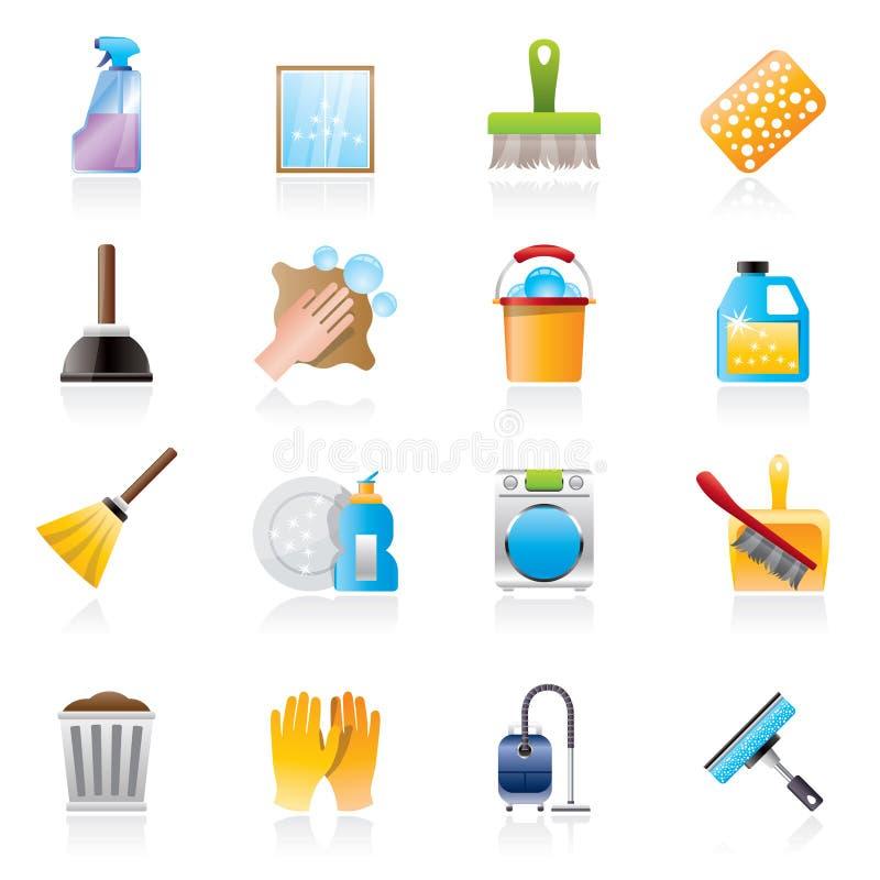 Εικονίδια καθαρισμού και υγιεινής ελεύθερη απεικόνιση δικαιώματος